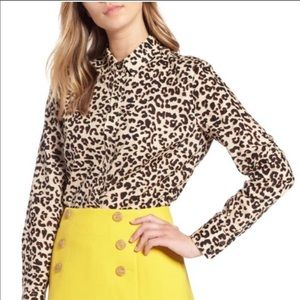 1901 Leopard Animal Print Button Up Blouse